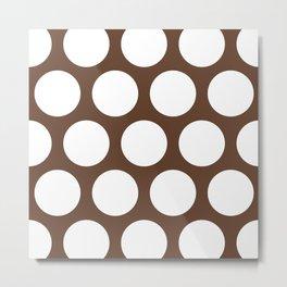 Large Polka Dots: Chocolate Brown Metal Print