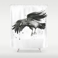 raven Shower Curtains featuring Raven by Olechka