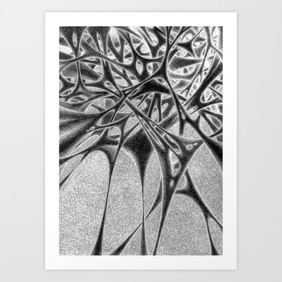 Panic with White Scribbles Art Print
