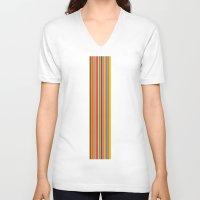 stripe V-neck T-shirts featuring stripe by Kurt Cyr