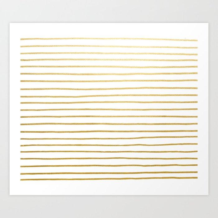 Gold Paris Stripe Pattern Art Print