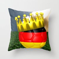 world cup Throw Pillows featuring World Cup Champion 2014 by Littlebell