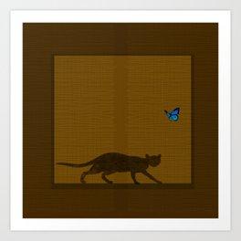 cat behind a noren Art Print