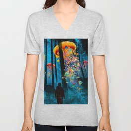 Electric Jellyfish Worlds in a New Blue Forest Unisex V-Neck