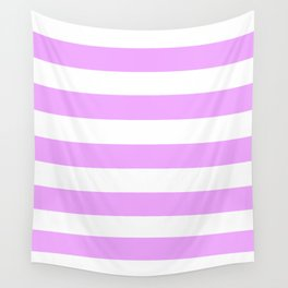 Rich brilliant lavender - solid color - white stripes pattern Wall Tapestry