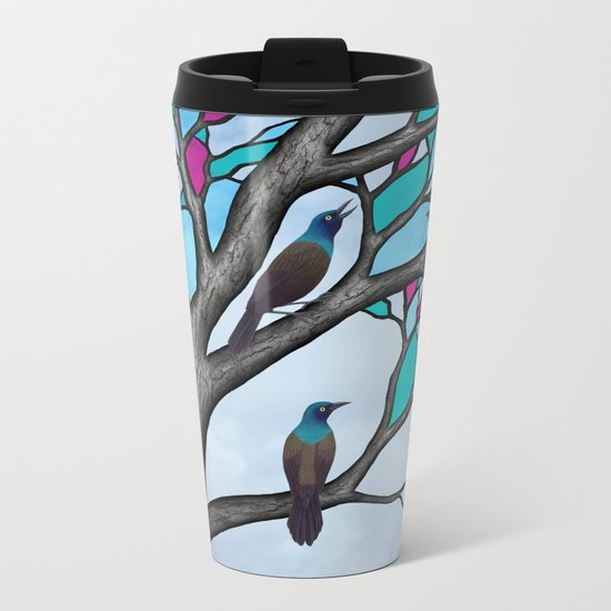 grackles in the stained glass tree Metal Travel Mug