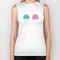 jellyfish Biker Tanks featuring Jellyfish by Teo Zirinis