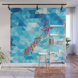 New Zealand Map : Geometric Wall Mural