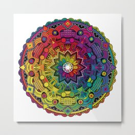 Time Dilation - Psychedelic Mandala Rainbow series Metal Print