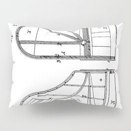 Steinway Grand Piano Patent - Piano Player Art - Black And White Pillow Sham
