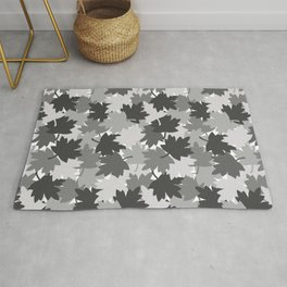 Camo Gray Leaves Rug