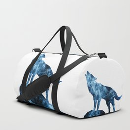 Howling Wolf blue sparkly smoke silhouette Duffle Bag