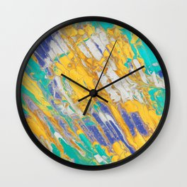 Fluid Acrylic Painting Multi Color Glitch Wave Effect Gold Yellow Cyan Green Navy Blue Wall Clock