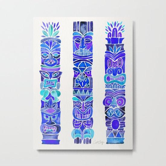Tiki Totems – Indigo Palette Metal Print