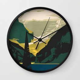 Lovely Lake Louise vintage travel ad Wall Clock