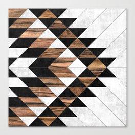 Urban Tribal Pattern No.9 - Aztec - Concrete and Wood Canvas Print