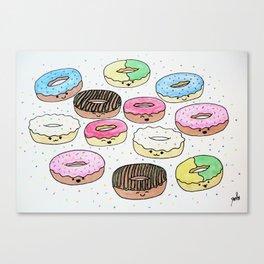 Kawaii Donuts Canvas Print