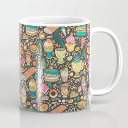 Tea party pattern on chocolate Coffee Mug