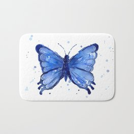 Butterfly Blue Watercolor Animal Painting Bath Mat