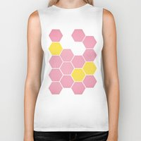 honeycomb Biker Tanks featuring Pink Honeycomb by Cassia Beck