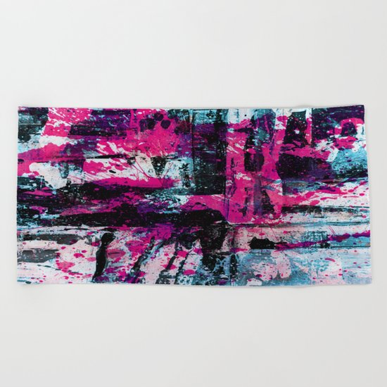 Express Yourself II - Abstract pink and blue artwork Beach Towel