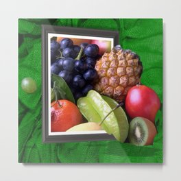 Modern Fruit Basket Still Life Metal Print