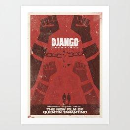 Django Unchained, Quentin Tarantino, minimalist movie poster, Leonardo DiCaprio, spaghetti western Art Print