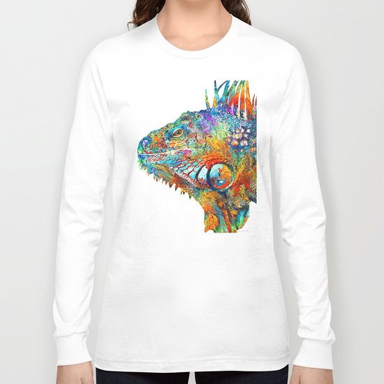 Colorful Iguana Art - One Cool Dude - Sharon Cummings Long Sleeve T-shirt