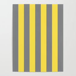 Perfect stripes Illuminating Yellow, Ultimate Gray medium vertical Poster