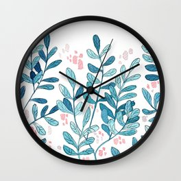 """Blue Leaves """"Gentle Breeze"""" // Simple Watercolors and Mixed Media Art Wall Clock"""