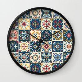 Moroccan Tiles Pattern Multicolor Wall Clock