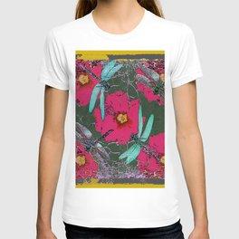 SHABBY CHIC BLUE DRAGONFLIES ON  FUCHSIA HOLLYHOCK FLOWERS T-shirt