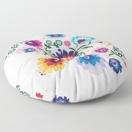 Beautiful Folk Composition on white Floor Pillow