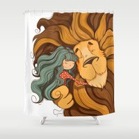 lion Shower Curtains featuring Lion by Tatiana Obukhovich
