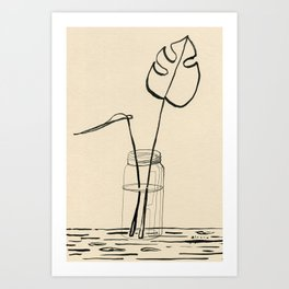 Line drawing leaves #4 Art Print