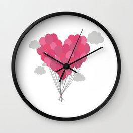 Balloons arranged as heart Wall Clock