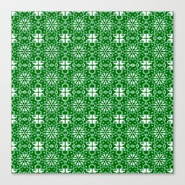 Green and Whte Star Geometric Canvas Print