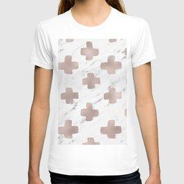 Rose gold marble - scandinavian cross T-shirt