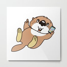 a sea otter with a smartphone Metal Print