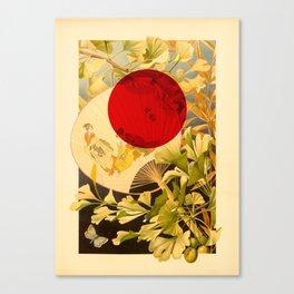 Japanese Ginkgo Hand Fan Vintage Illustration Canvas Print