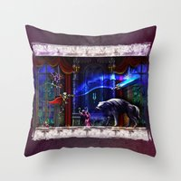 castlevania Throw Pillows featuring Castlevania Verboten by likelikes