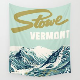 2021 Ski Stowe Vermont Vintage Poster  Wall Tapestry