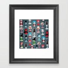 Spooky Dolls Pattern Framed Art Print