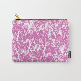 Pink and White Cracked Surface Carry-All Pouch
