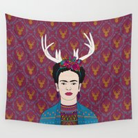 frida Wall Tapestries featuring DEER FRIDA by Bianca Green