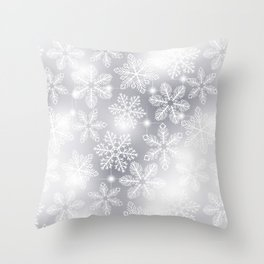Snowflakes and lights Throw Pillow