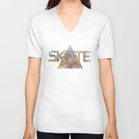 skate V-neck T-shirts featuring SKATE by Novus.