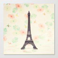 eiffel tower Canvas Prints featuring Eiffel Tower by Caroline Mint