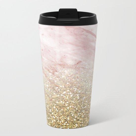 Rose gold marble sunset gradient Metal Travel Mug