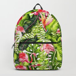 Aloha - Tropical Flamingo Bird and Hibiscus Palm Leaves Garden Backpack